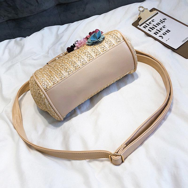 Women Pearl Handbag INS Popular Female Summer Flower Straw Bag Lady Fashion Shoulder Bag Travel Beach Woven Crossbody Bag SS7220 (9)