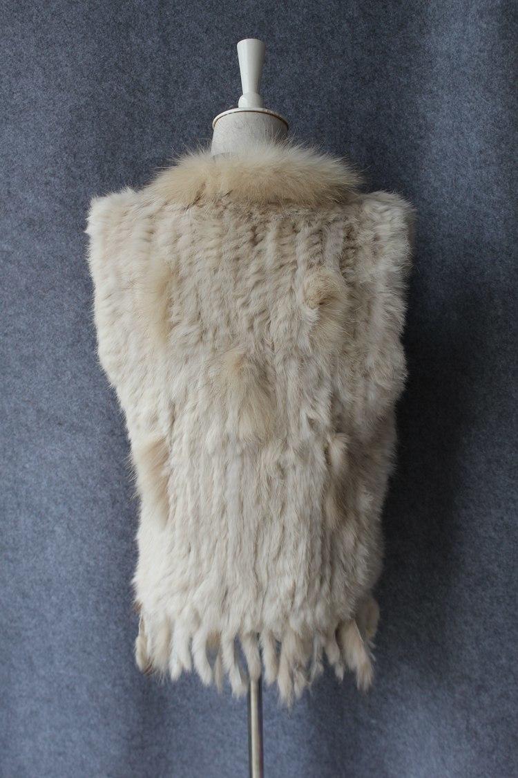 genuine real rabbit fur vest with raccoon fur collar (10)