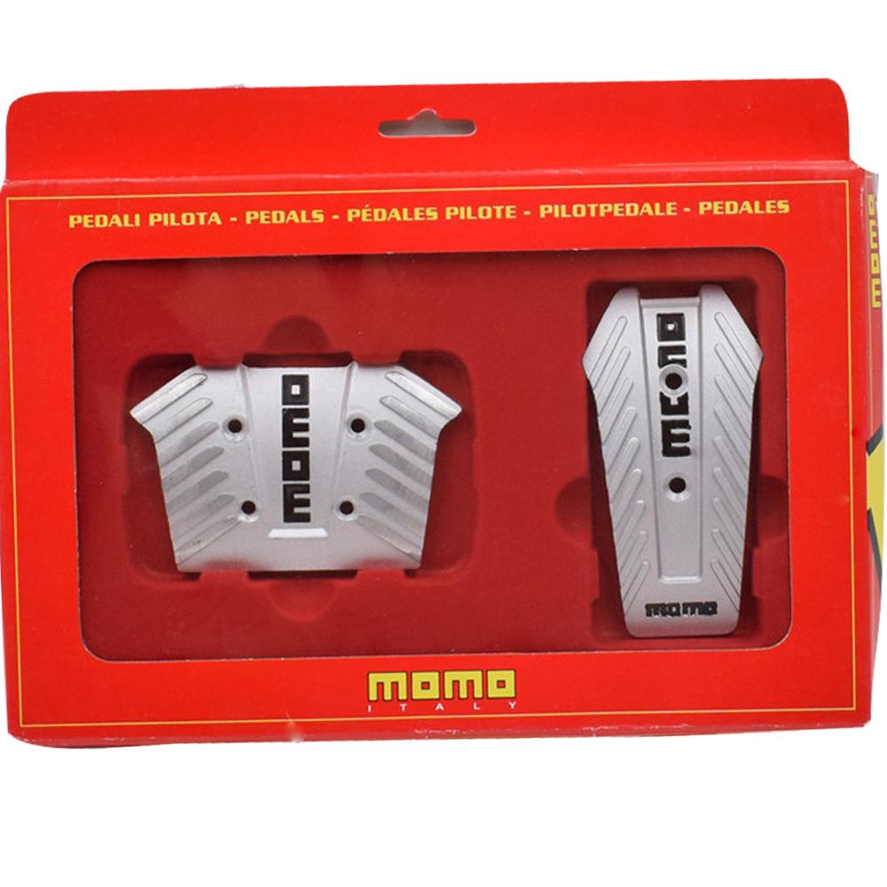 wholesale 2 PCS 1 Set Black/Silver Momo Aluminium Non Slip Sport Racing Pedals Brake Pad Covers Foot Pedal For Automatic Car