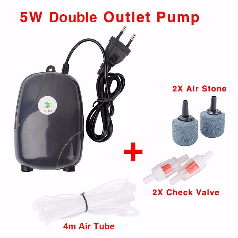 Aquarium Air Pump Mini USB Oxygen Pump Air Compressor Single Double Outlet Water Inflation Pump Aquatic Terrarium Fish Tank Accessories 3