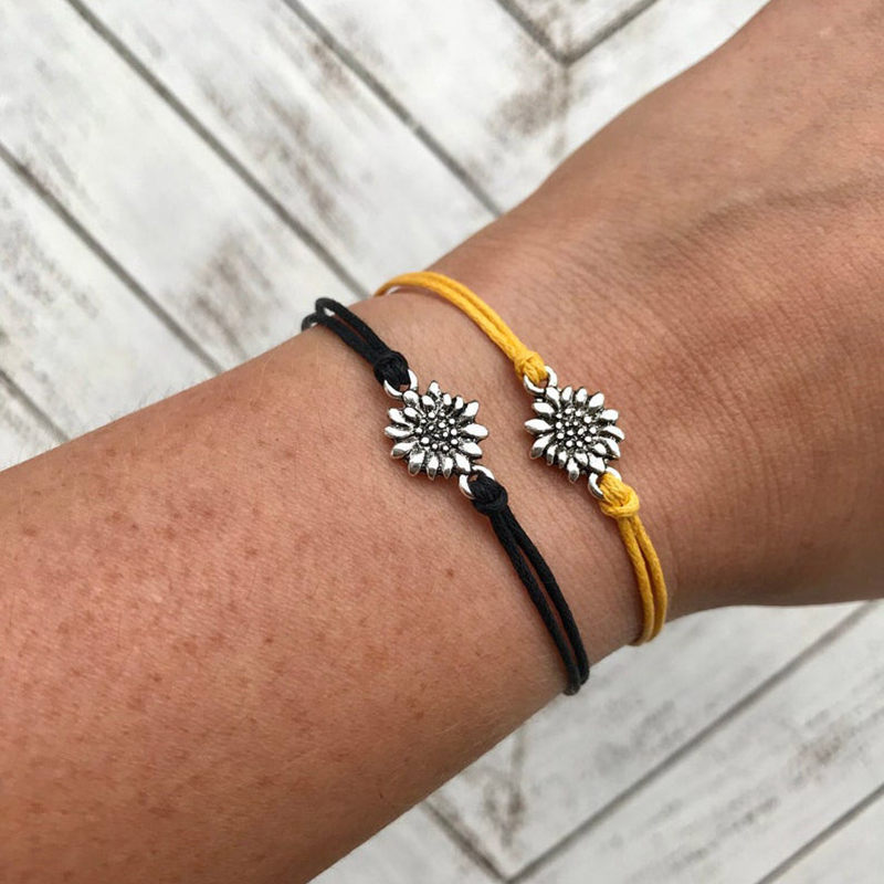 Colorful Sunflower Bracelets Birthday Gifts Silver Charm Bracelets for Women Girls Jewelry Fashion Infinity Friendship Sister Bracelets Gift