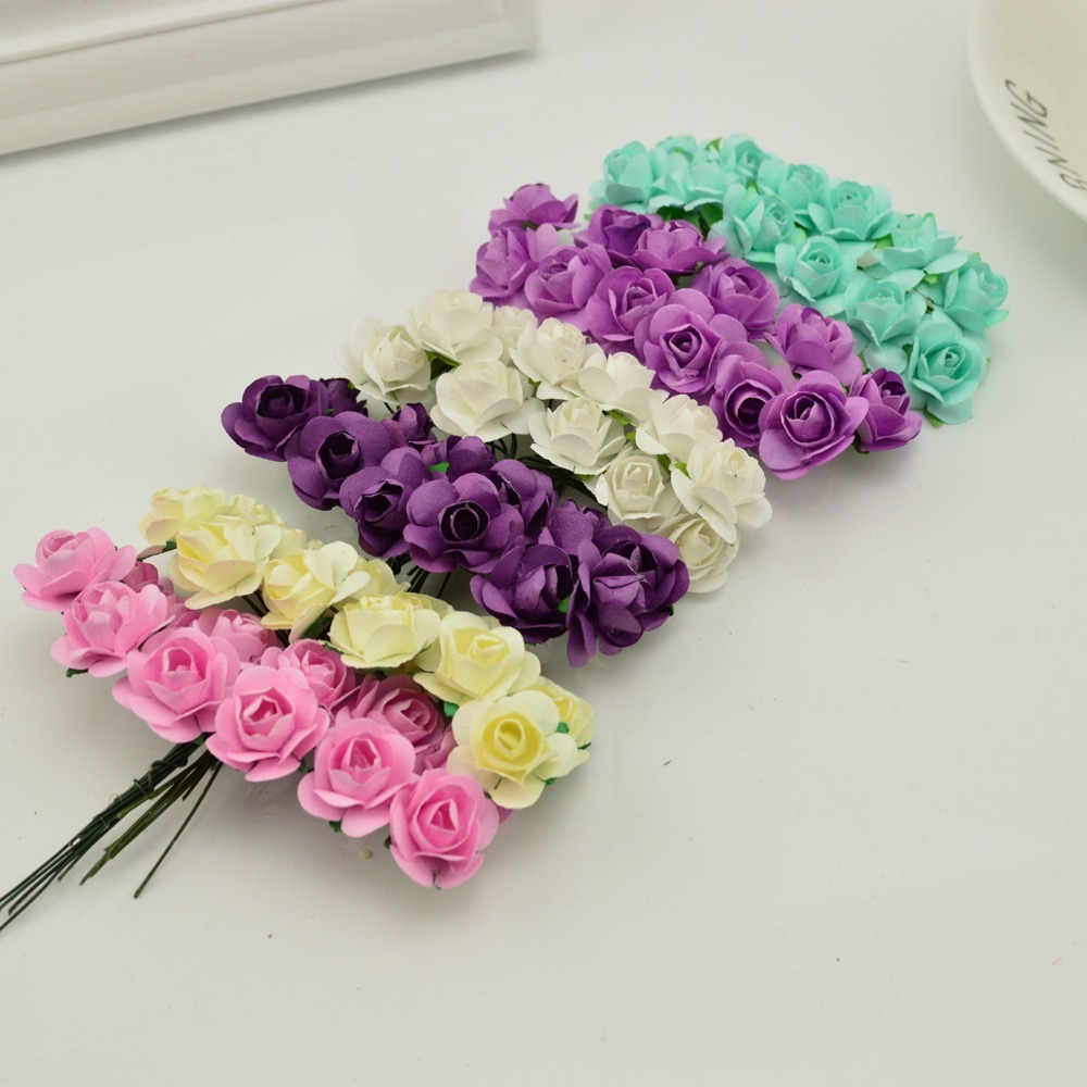 144pcs-1cm-cheap-Artificial-Paper-flowers-for-Wedding-car-fake-Roses-Used-For-decoration-Candy-box(2)