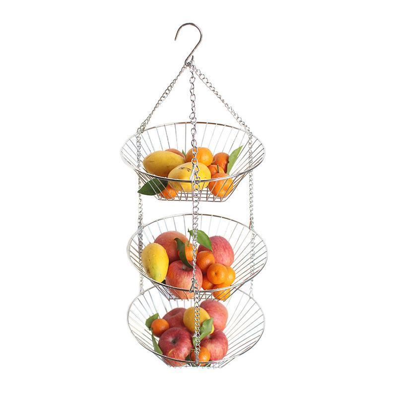 Plastique 3 étages suspendu Paniers de Rangement Cuisine Fruits Légumes Salle De Bain Douche