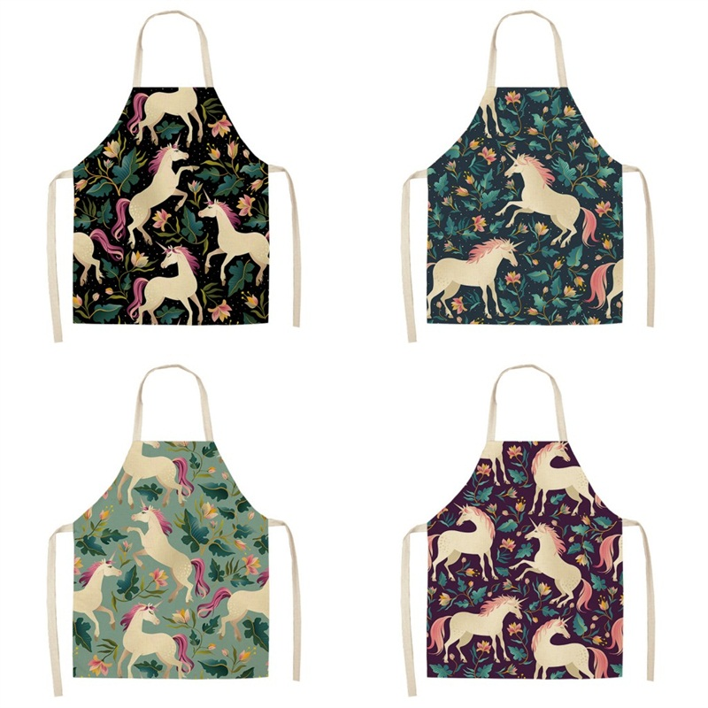 Female Sleeveless Cartoon Unicorn Apron Cotton And Hemp Pinafore Floral Prints Cooking Aprons For Home Kitchen Popular Creative 7 5my J1