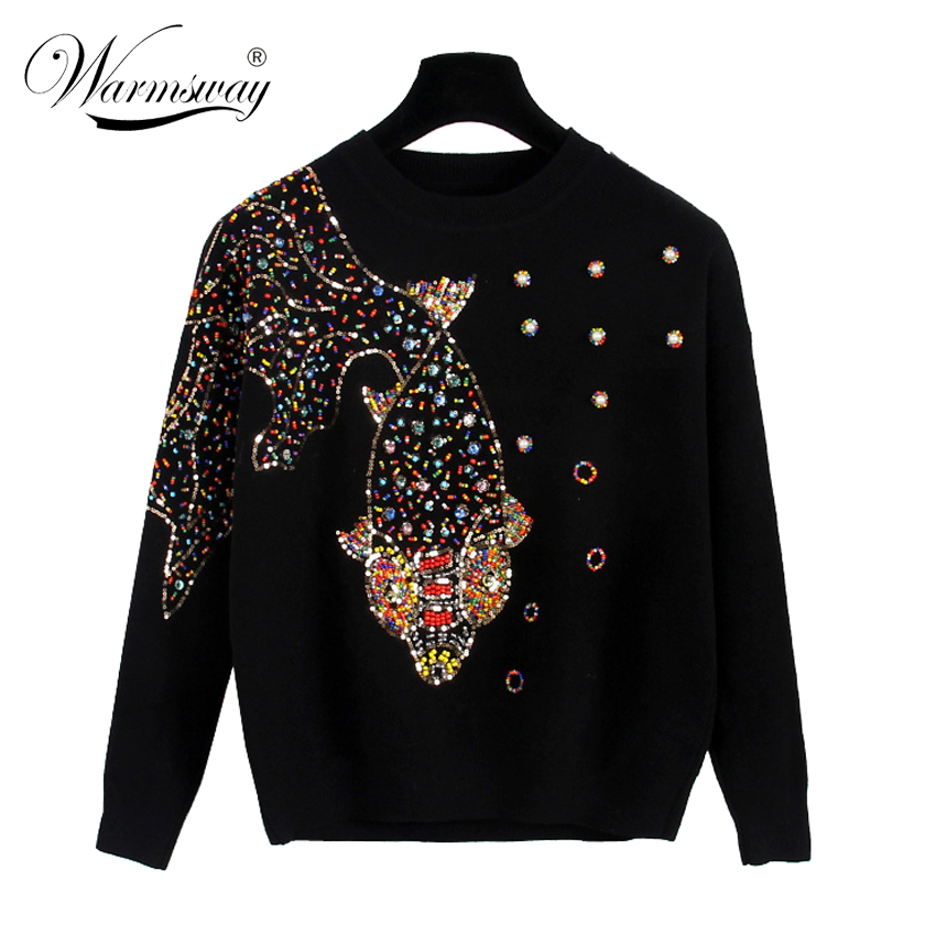 Autumn Female Brand Designer Fashionable High Street New Pullovers Round Neck Cable Knit goldfish bead Sweater C-139