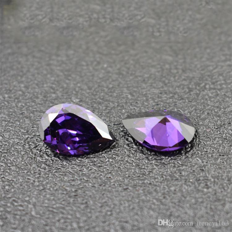 5x7mm-9x11mm 3A Cubic Zirconia Amethyst Pear Cut Synthetic Loose Gemstones 5 Sizes For Sterling Silver Jewelry Making Wholesale