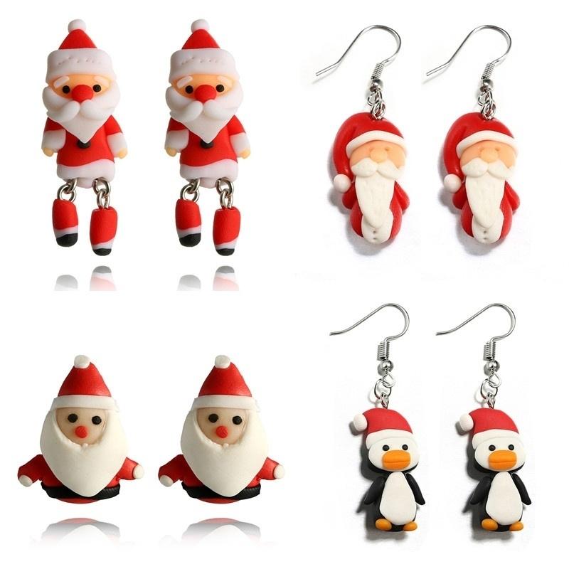 Fashion Cartoon Père Noël Pingouin Crochet Boucles D/'oreilles Femmes Bijoux Noël Decor