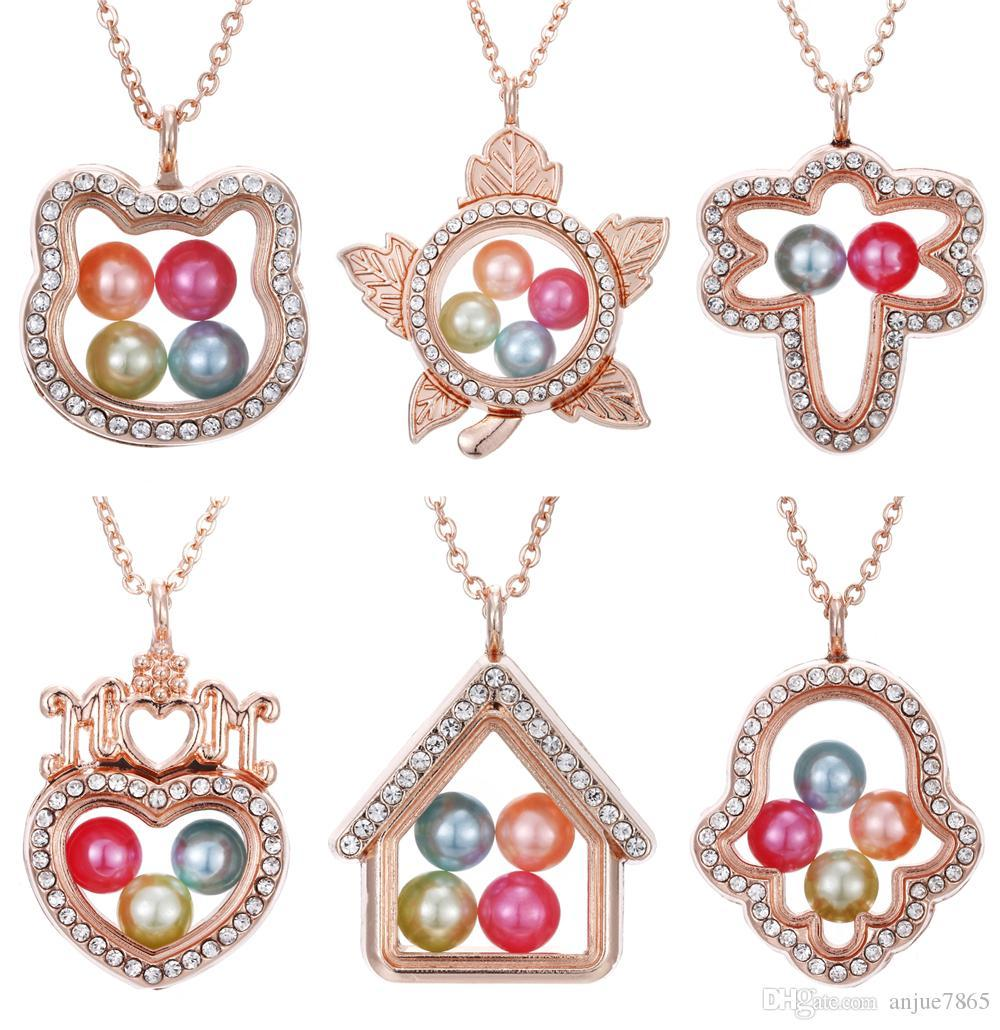K COOL Heart Glass DIY Locket Necklace Rainbow Rhinestone Crystal Living Memory Floating Charms Pendant Necklace