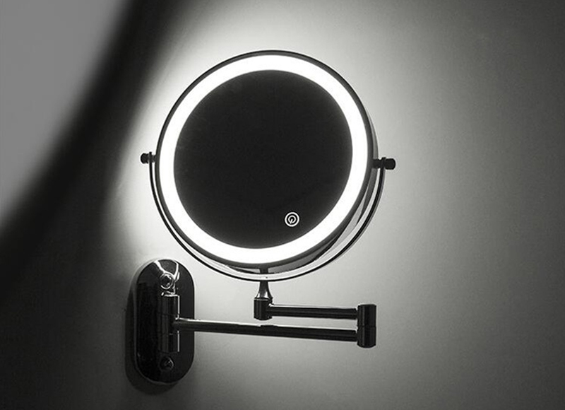 8 inch Wall Mounted Led Makeup Mirror 10X Magnifying Touch Bright Adjustable Bathroom Wall Mirrors Double Sided Vanity Mirror 00