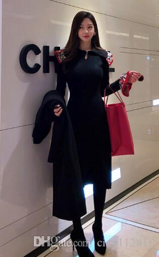 Crazy2019 Temperamento coreano Lotus Leaf Collar Retro Slim tromba manica Knit Jacquard Dishy maglione vestito