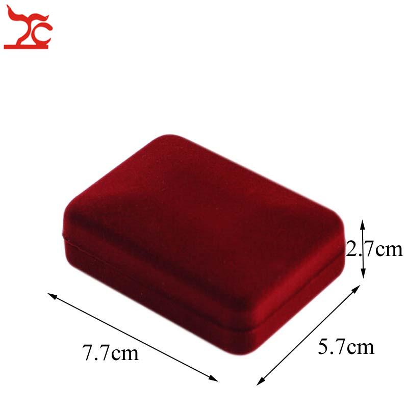Wholesale Red Velvet Jewelry Display Case Wedding Necklace Pendant Earring Organizer Storage Gift Boxes
