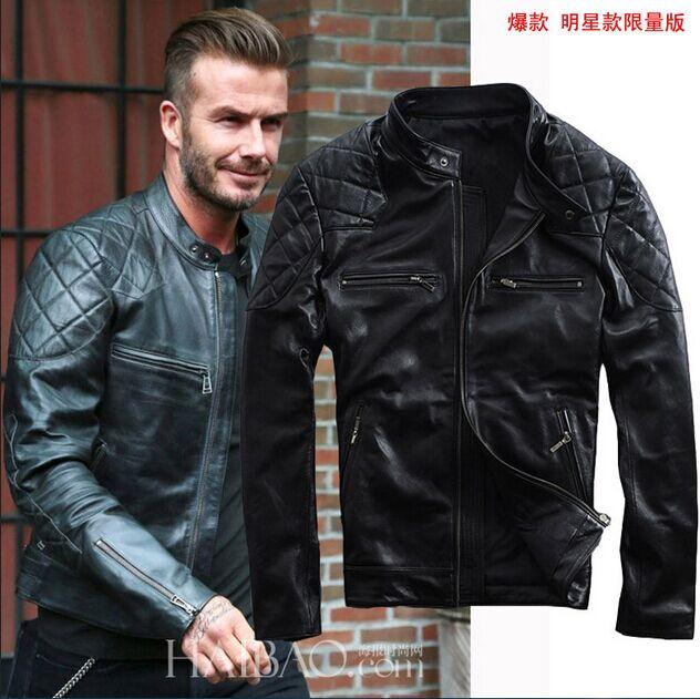 David Beckham Nero Motociclo Giacca in Pelle-Tutte le taglie disponibili