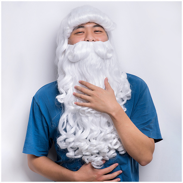 Fenical Christmas Santa Wig and Beard Set White Long Curly Hair