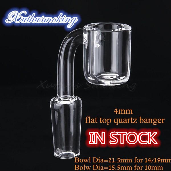 4mm Stock Flat Top Quartz Banger Bowl Dia 21.5mm for 14mm 19mm Joint Bowl Dia 15.5mm for 10mm Joint DHL 643