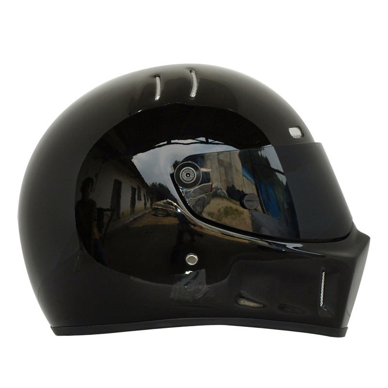 Motorcycle Full Helmet Autumn Winter Warm Kart Racing Glass Riding Motocross Helmet Unisex ATV-1 Black/Elegant Black/White
