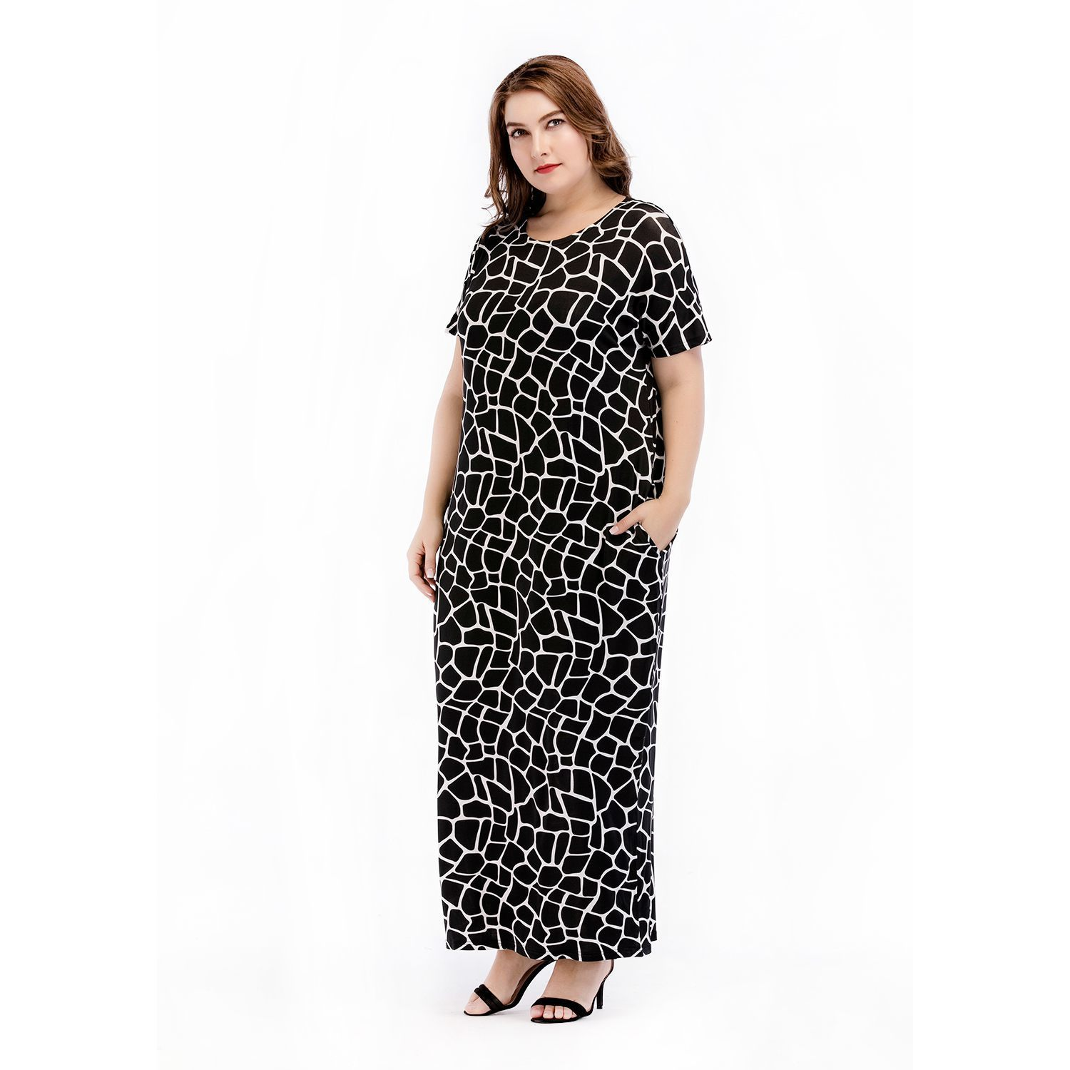 New European And American Style Knit Large Size Women's Dress Arabian Loose Robe Dress drop shipping designer clothes