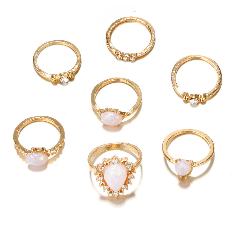 Gold Color Opal Flower Rings Set For Women White Crystal Carved Geometric Knuckle Midi Ring Set Anillos Femme
