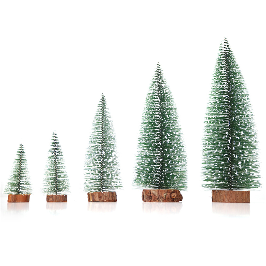 34PCS mini sisal Snow Frost Trees Bottle Brush Trees Winter Snow ornamenti da tavolo alberi di plastica 34 Pcs