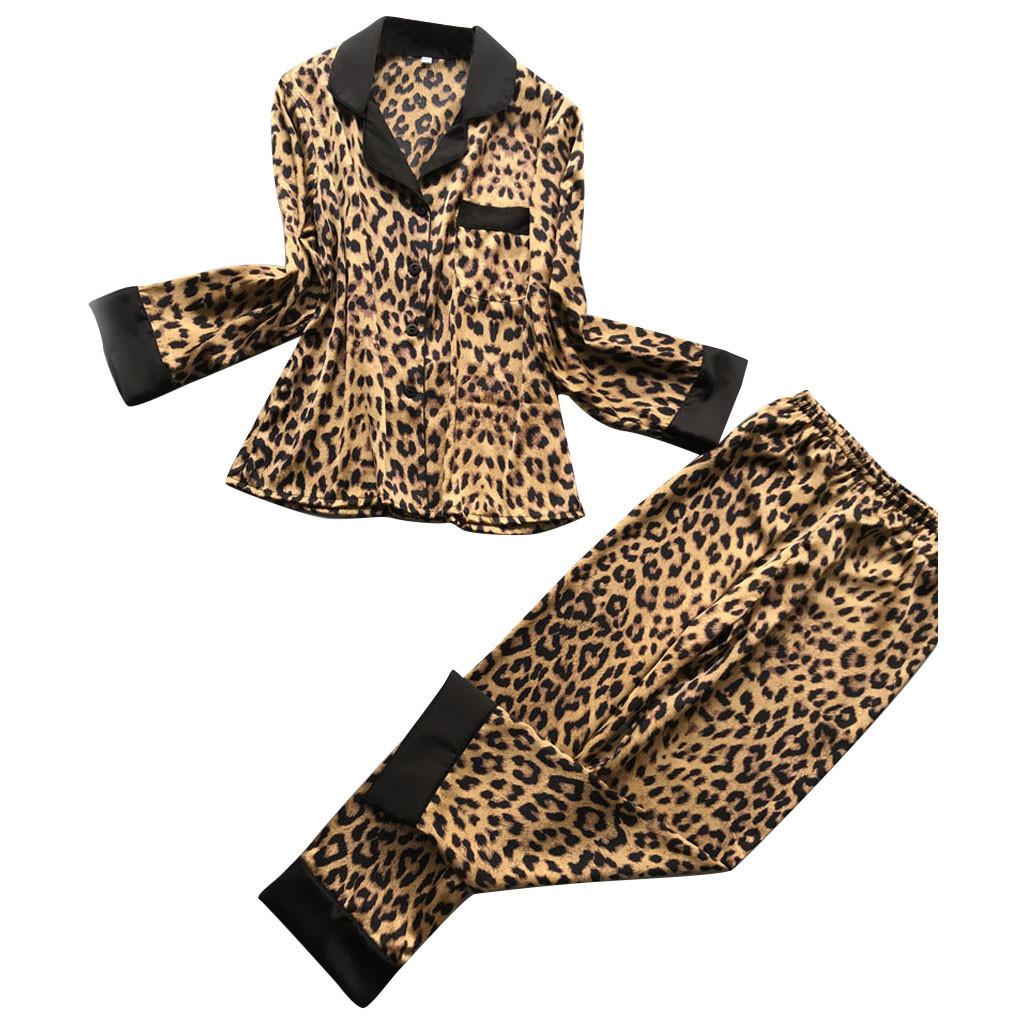 2019 Moda Womens Sexy Leopardo De Cetim Calças de Manga Longa Lingerie Pijamas Pijamas Pijama Takimlari Pijamas Mulheres J190704