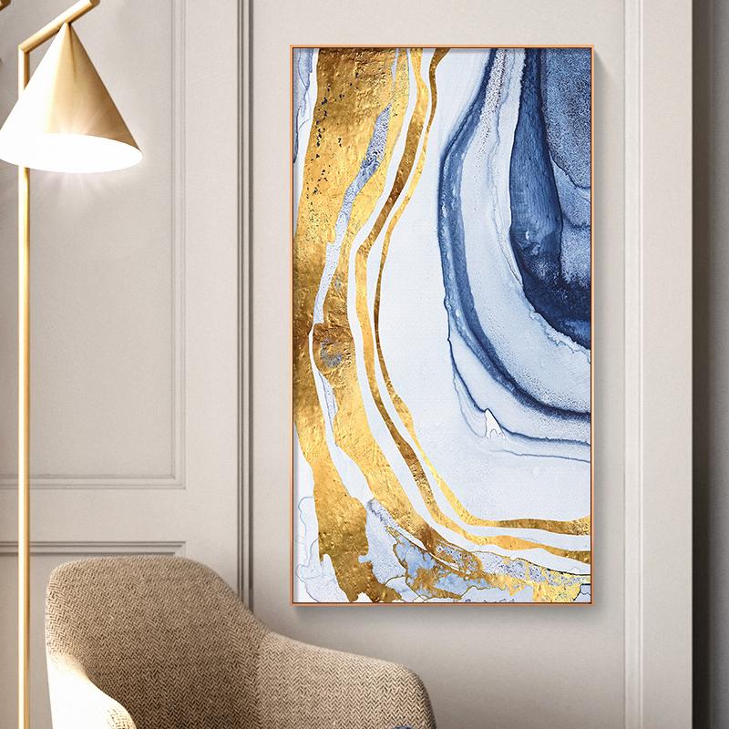 Arte Abstrata Azul Dourado Forma De Tinta mínima Decoração Poster Impressão A4-B1 Emoldurado