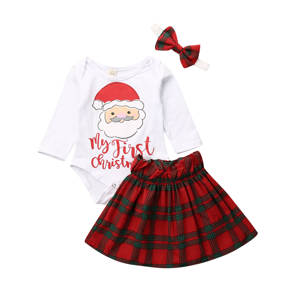 UK My 1st Christmas Newborn Baby Girl Xmas Clothes Romper Plaid Skirt 3Pc Outfit