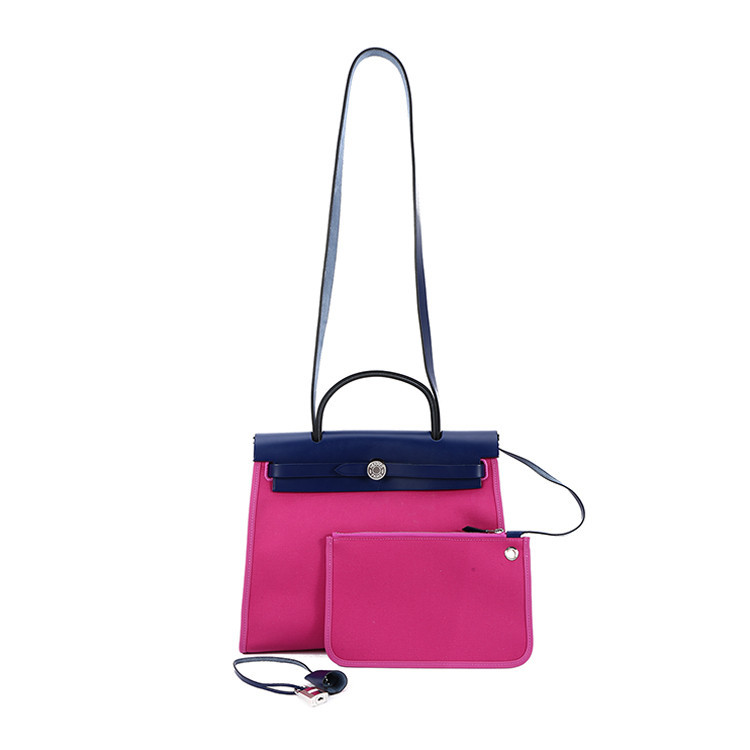 /  purple canvas blue with leather dual-use bag herbag31