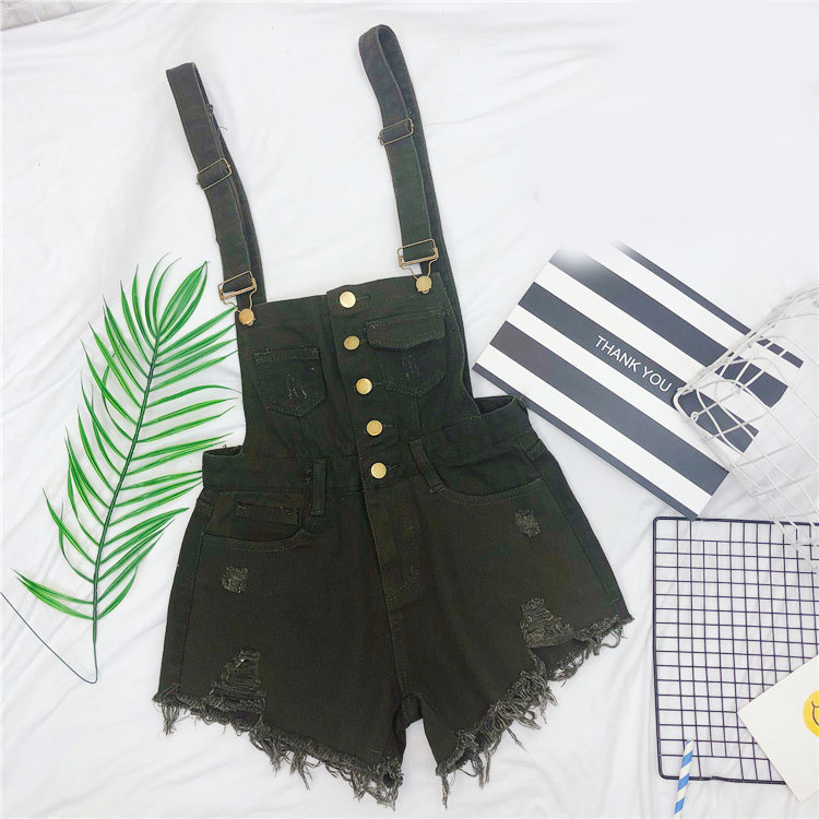 The new loose-fitting Korean version of the springsummer 2017 denim suspenders for female students shows a trend of slim, worsted fringed tassel shorts (11)