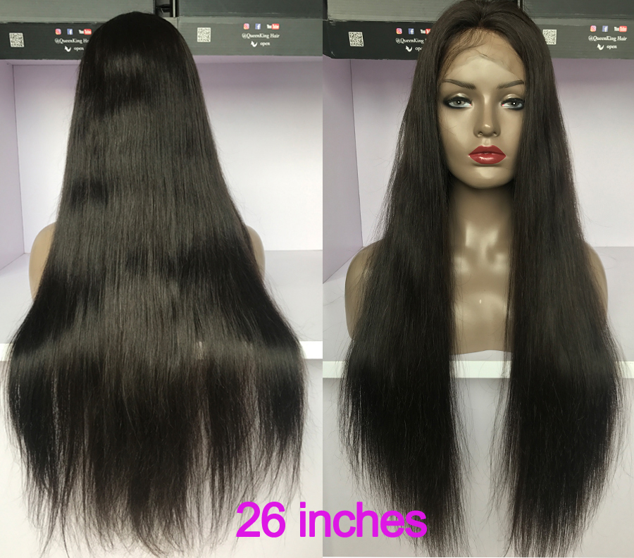 26 inches straight human lace wig
