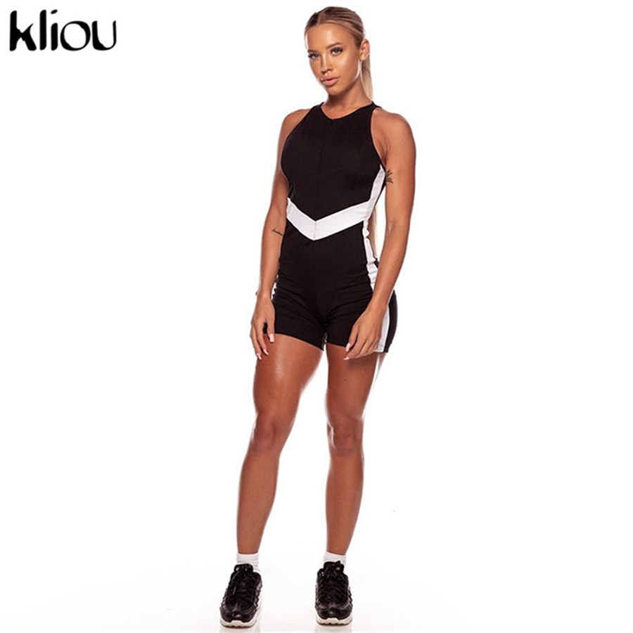 Kliou New Playsuit Women Fitness Bodysuit Summer Sleeveless Striped Patchwork Sportswear Fashion Outfits Rompers Jumpsuit Q190521