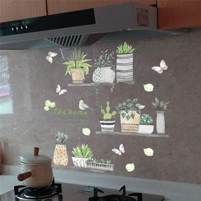 garden plant bonsai flower butterfly wall stickers home decor living room kitchen pvc wall decals diy mural art decoration D19011702