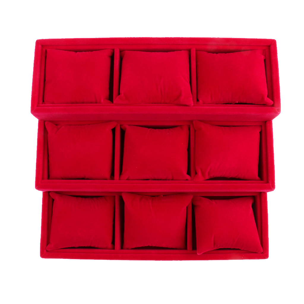 Phenovo Hessian 9 Grids Watch Bracelet Pillow Jewelry Display Box Holder for displaying watch and bracelet chain Red