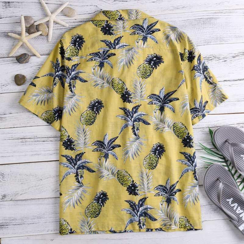 New Eye-catching Hawaiian Tropical Mens Shirts Dress Short Sleeve Lapel Collar Floral Beach Vacation Clothing Summer 4xl C19041701