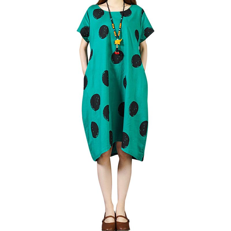Vintage Women Summer Dress 2019 Contrast Polka Dot Print Low High Hemline Bigi Size Dress Pocket Loose Midi One-Piece Party Wear