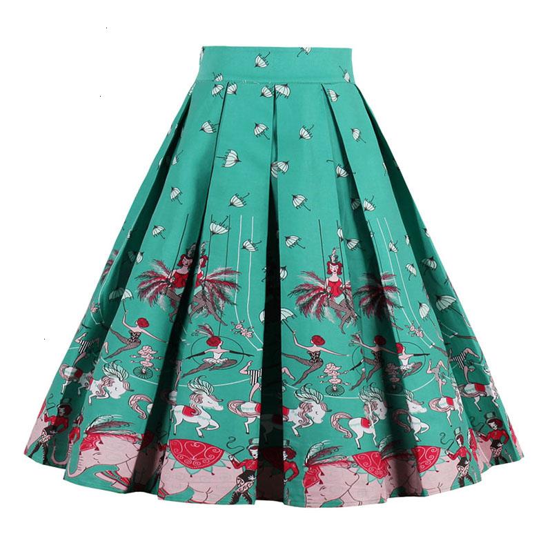 Kostlish Retro Print Flower Summer Skirts Womens High Waist Vintage Skirt Elegant A-Line Midi Women Skirt Plus Size XXL (12)