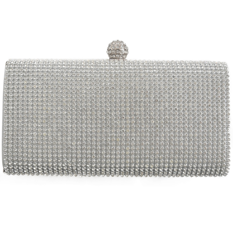 New gold Diamante Diamond Shine Crystal Stone sequin Evening Party Clutch bag