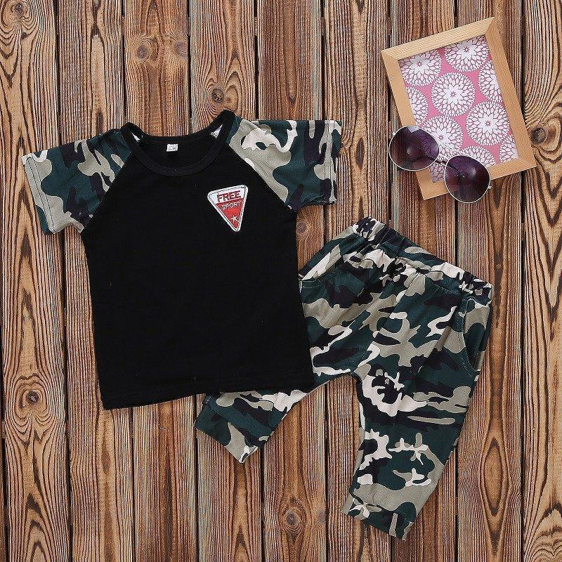 2019 Baby Summer Kids Suit Teenager Costume Cotton Toddler Tracksuit Boys Clothes Casual Children Camouflage Clothing Boy Set J190716