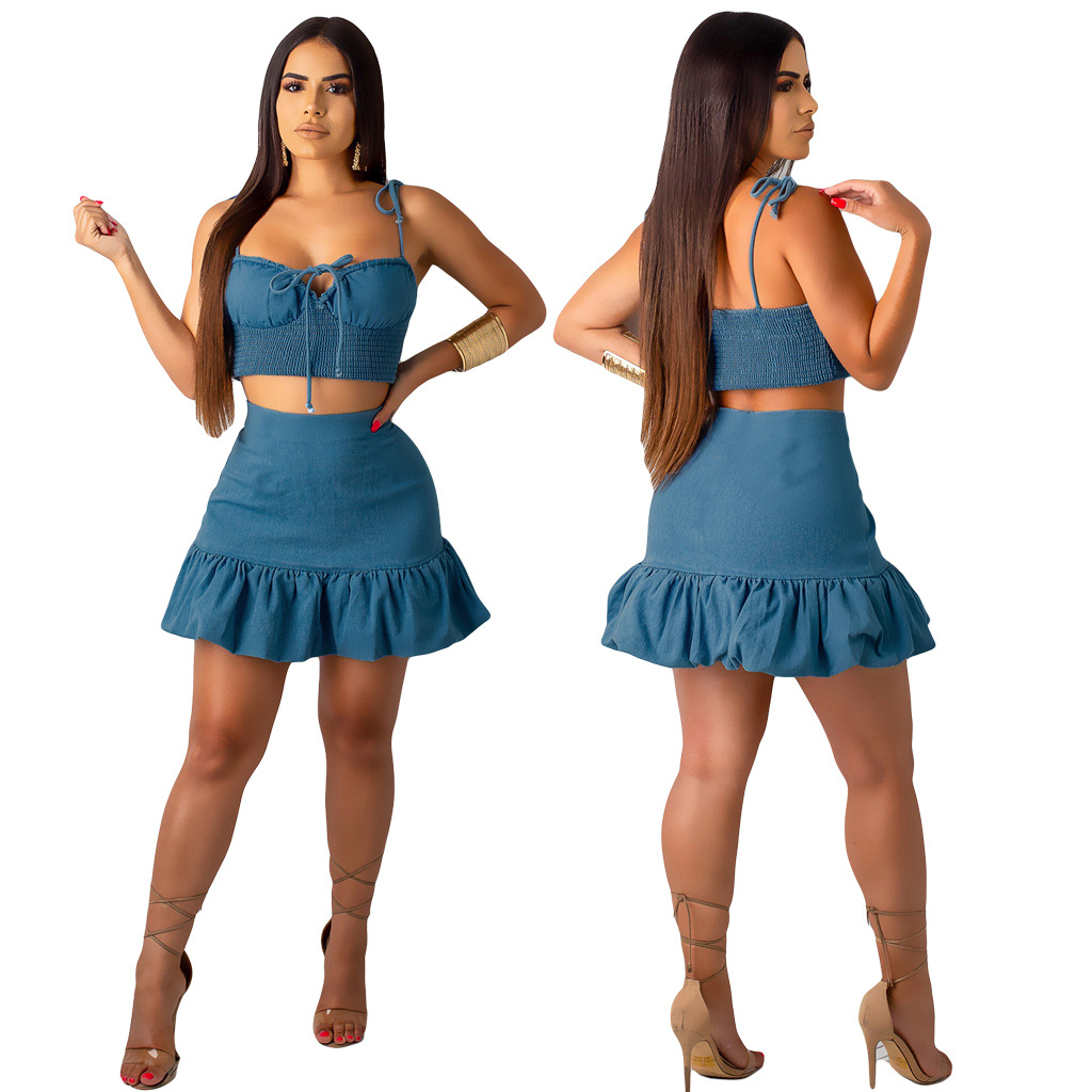 B3007 Women's Clothes 2019 Undergarment Covering The Chest And Abdomen Pleated Skirt Two Piece Suit A19827