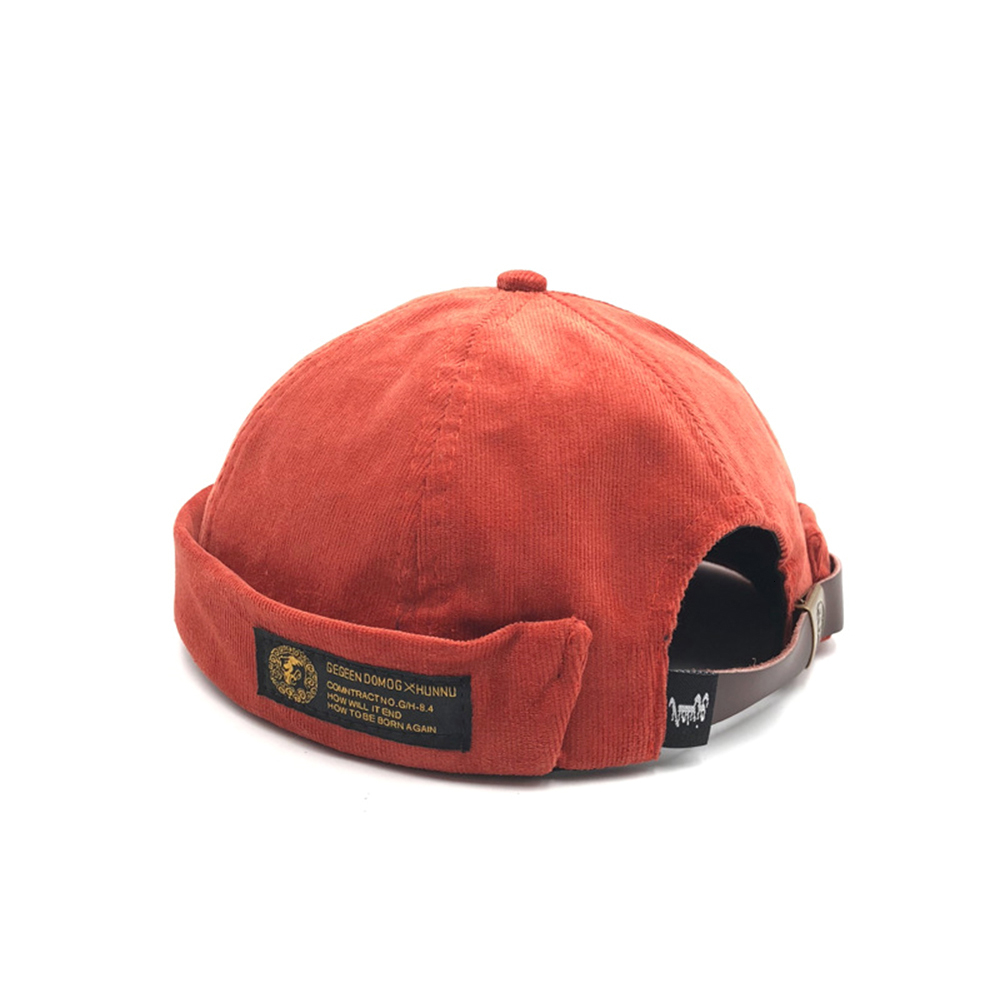 Mens Womens Winter Corduroy Adjustable French Brimless Hats Fashion Skullcap Sai