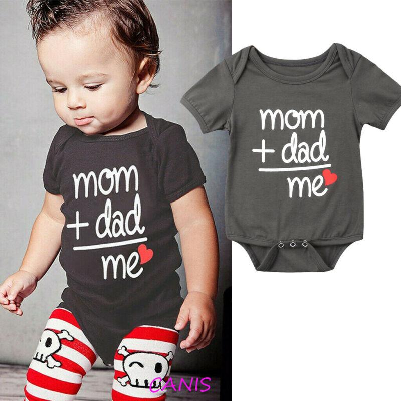 Cute Newborn Kids Baby Boy Girl Funny Letter Romper Bodysuit Outfit Sunsuit US