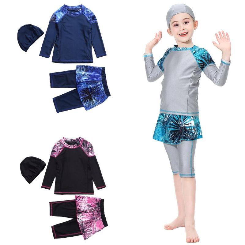 Kids Swimwear Muslim Arab Full Cover Beachwear Modest Burkini Girls Swimsuit Set