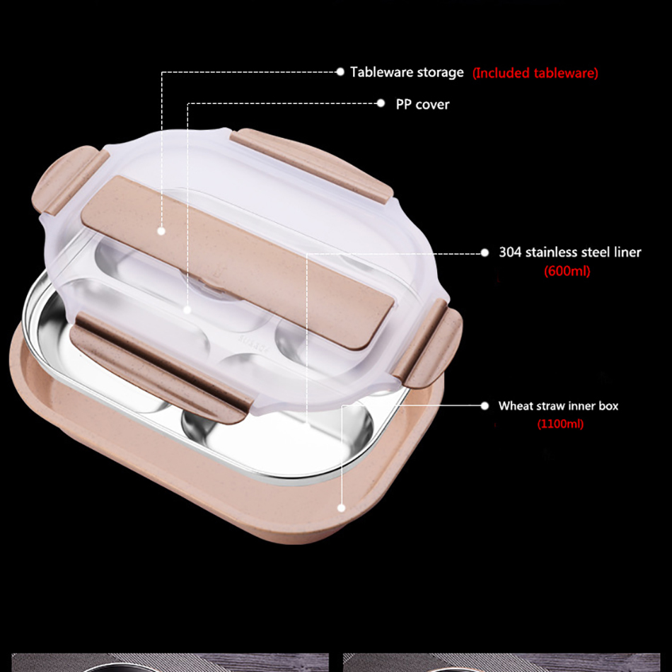 ONEUP stainless steel Lunch box Eco-friendly Wheat Straw Food container with cutlery Bento Box With Compartments Microwavable 9