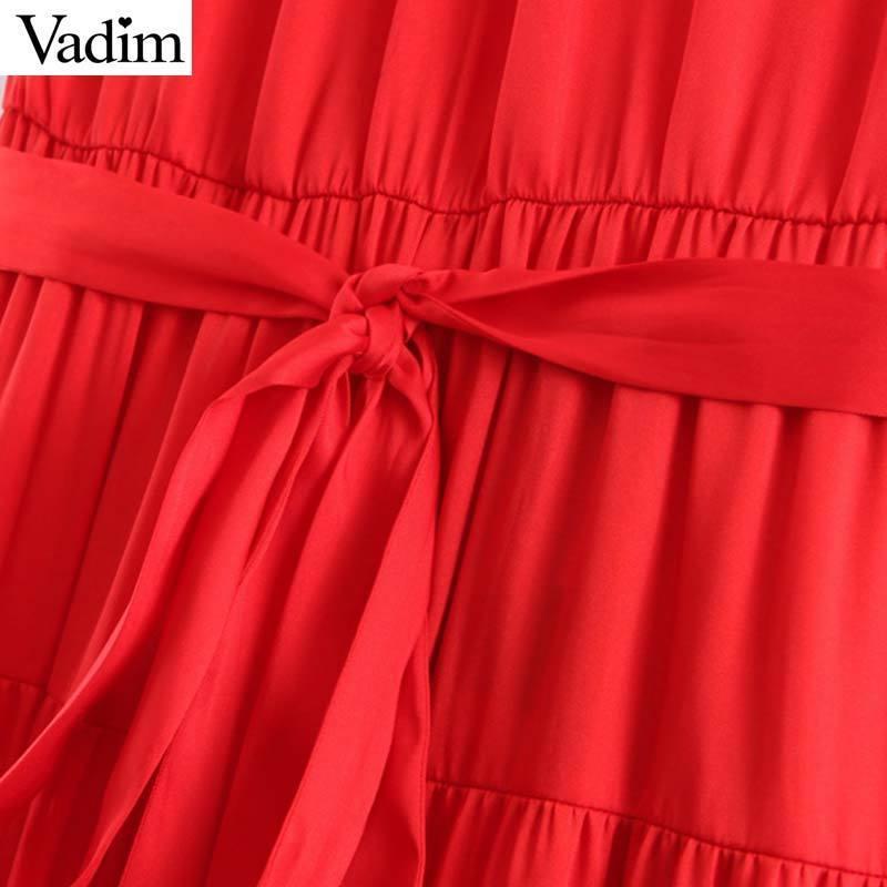 Vadim Kadınlar Seksi Katı Halter Elbise Papyon Sashes Kolsuz Backless Cepler Kadın Yaz Plaj Kırmızı Elbiseler Vestidos Qb845 Y19071001