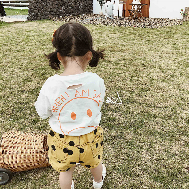 Korean Style 2019 Summer Cartoon Printed T Shirts For Kids Cute Boys Girls Ripped Fashion Short Sleeve Tees 1-6y Y19051003