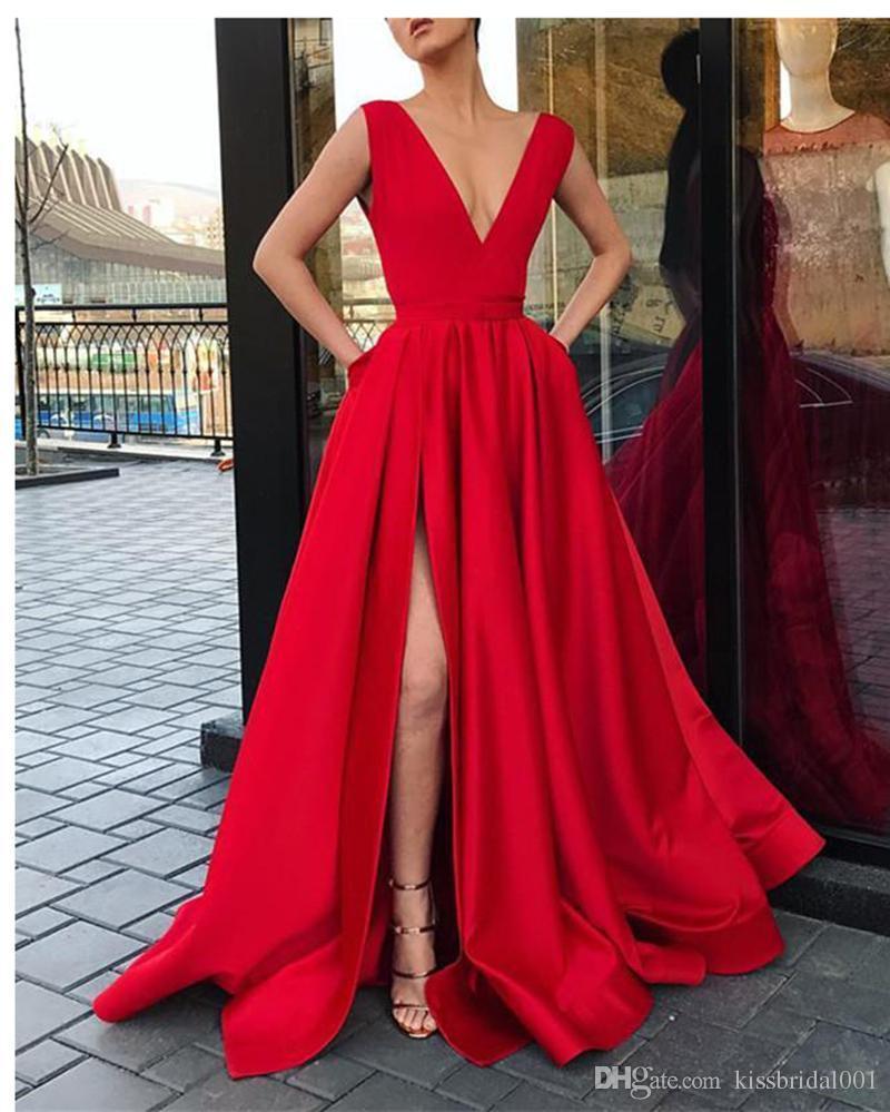 Compre Vestidos De Fiesta Rojos Largos Baratos 2019 Una Línea De Cuello En V Profundo Vestidos De Noche Divididos Vestido De Cóctel De Las Mujeres