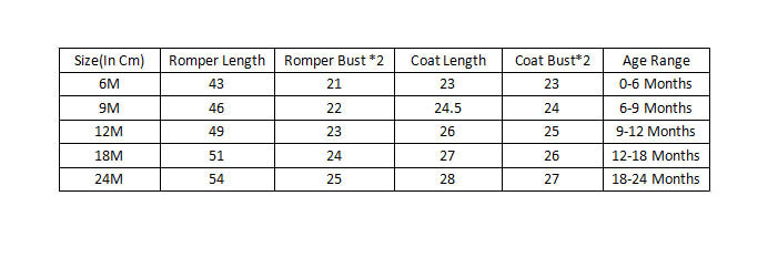 SIZE CHART Bodysuit dress cts
