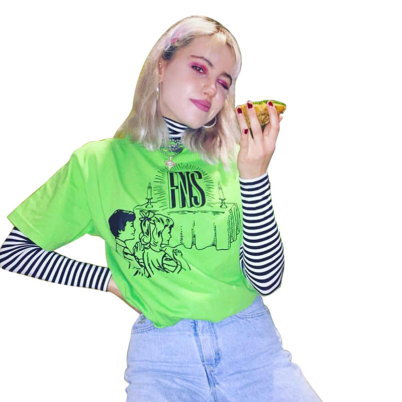 La temporada 2019 de las mujeres llevar alrededor del cuello de la manga corta de impresión camisa de la chaqueta T Shirts