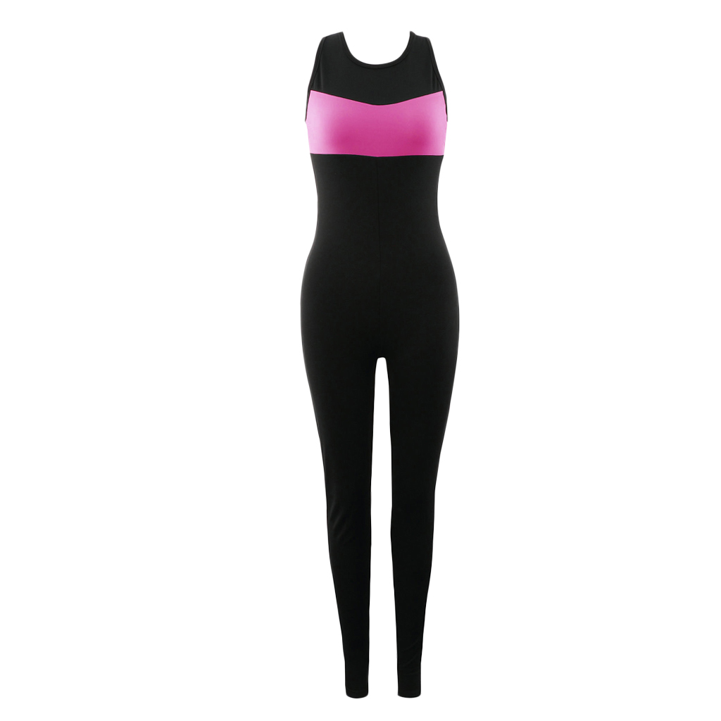 Phenovo Women Ladies Sports Fitness Leggings Exercise Yoga Jumpsuit S Black and Rose Red