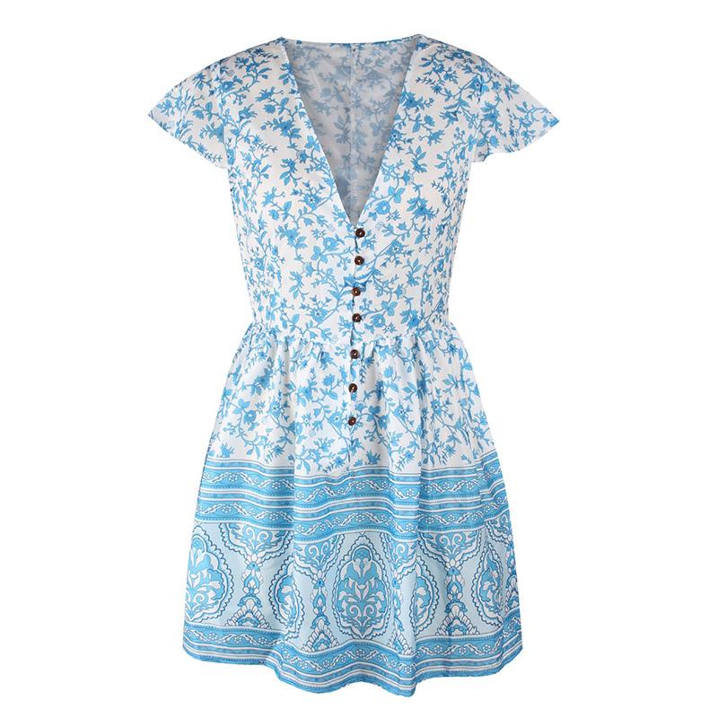 Forefair Retro Boho Dress Mini Summer (9)