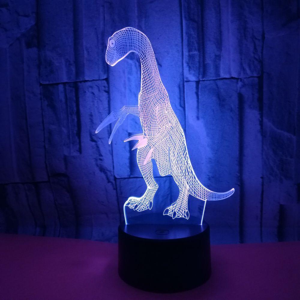 Trade New Pattern 3d Dinosaur Lamp Colorful Touch 3D Led Vision Lampada da tavolo Telecomando Lampada The Falcetto Loong 3d Piccola luce notturna