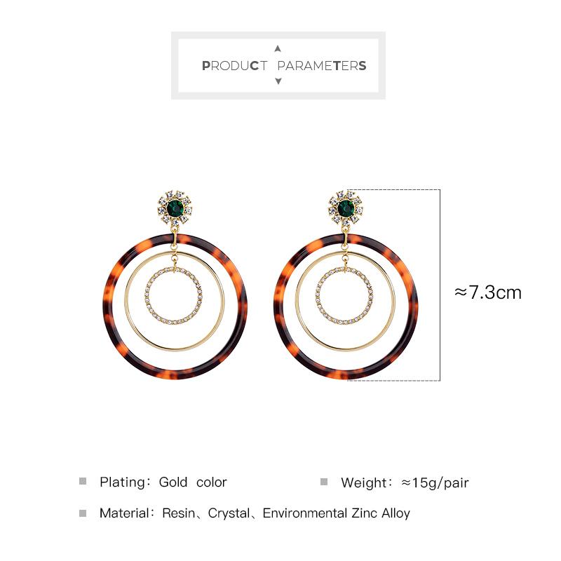 Women Round Big Earrings 2019 Bohemian Resin Rhinestone Statement Earrings Fashion Jewelry